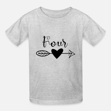 Turning Four Four with heart and arrow birthday - Kids' T-Shirt