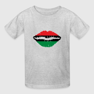 Pan American African Heritage Flag colors Lips - Kids' T-Shirt