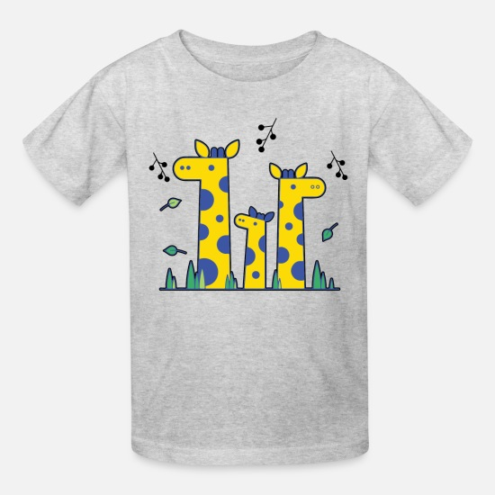 Cool T-Shirts - Three Giraffe Cute Shirt - Kids' T-Shirt heather gray