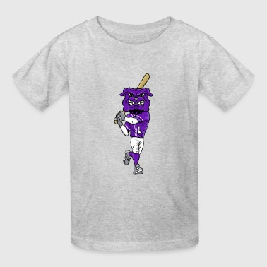 Bulldog Baseball custom bulldog mascot purple baseball - Kids' T-Shirt