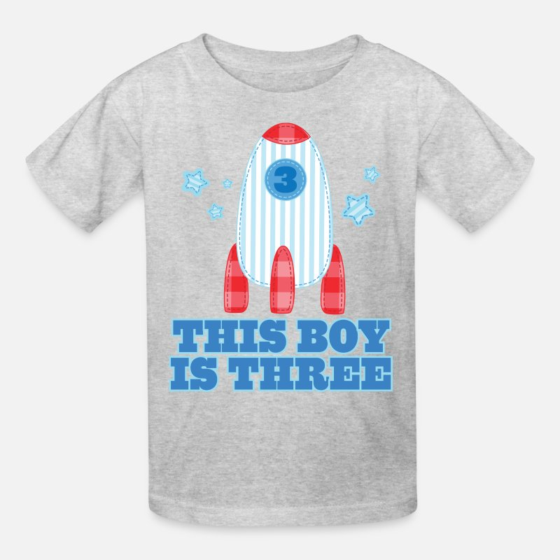 3rd Birthday Outer Space Rocket 3 Year Old Kids T Shirt