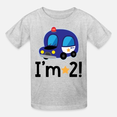 2 Year Old Birthday 2nd Birthday Police Car 2 Year Old - Kids' T-Shirt