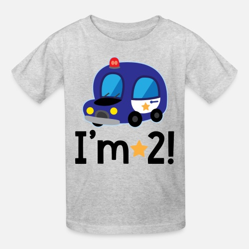 2nd Birthday Police Car 2 Year Old Kids T Shirt