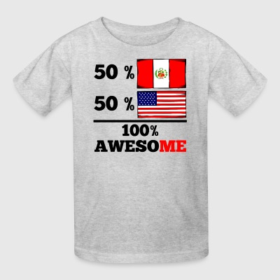 Half Peruvian Half American 100% Awesome - Kids' T-Shirt