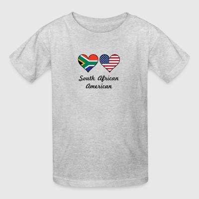 South African American Flag Hearts - Kids' T-Shirt