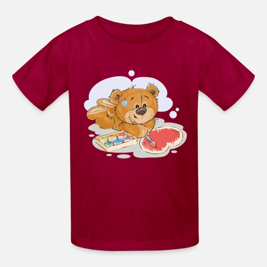 Paint Brush T-Shirts - paint brush artist teddy bear - Kids' T-Shirt dark red