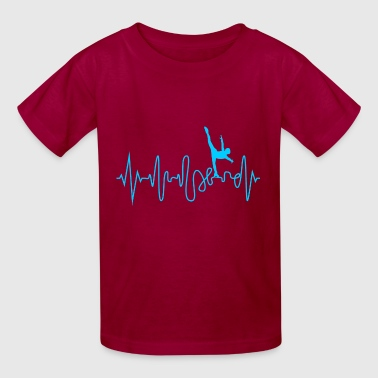 Ice Skate Heartbeat Ice Skating Line Graphics Pulse - Kids' T-Shirt