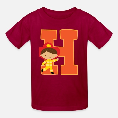 Alphabet Boy Firefighter Boy Letter H Alphabet Initial - Kids' T-Shirt