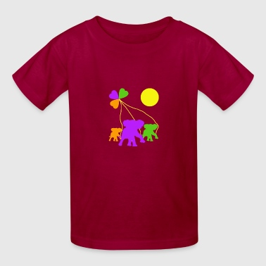 Three Kinds Three heart and three elephants - Kids' T-Shirt