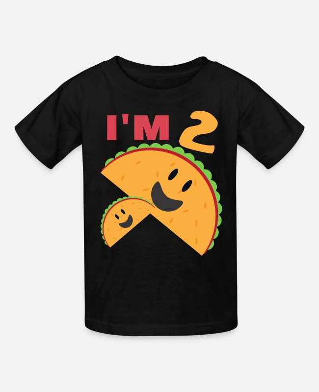 2 Years T-Shirts - I m 2 Taco Twosday | 2nd Birthday Gift | 2 years - Kids' T-Shirt black