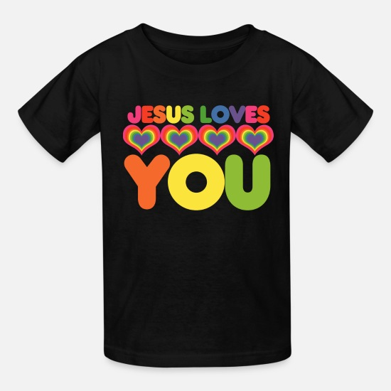 Jesus T-Shirts - Jesus loves you - Kids' T-Shirt black