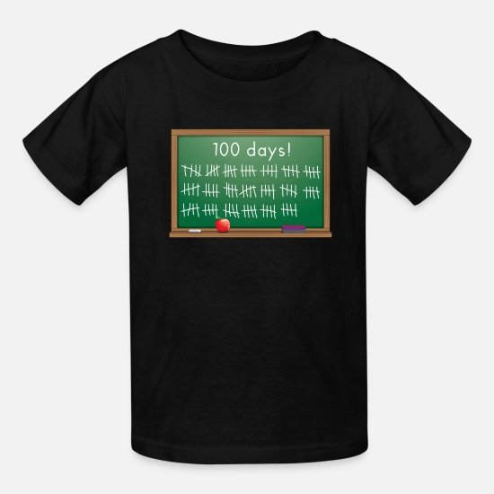 School T-Shirts - 100 days of school chalkboard - Kids' T-Shirt black