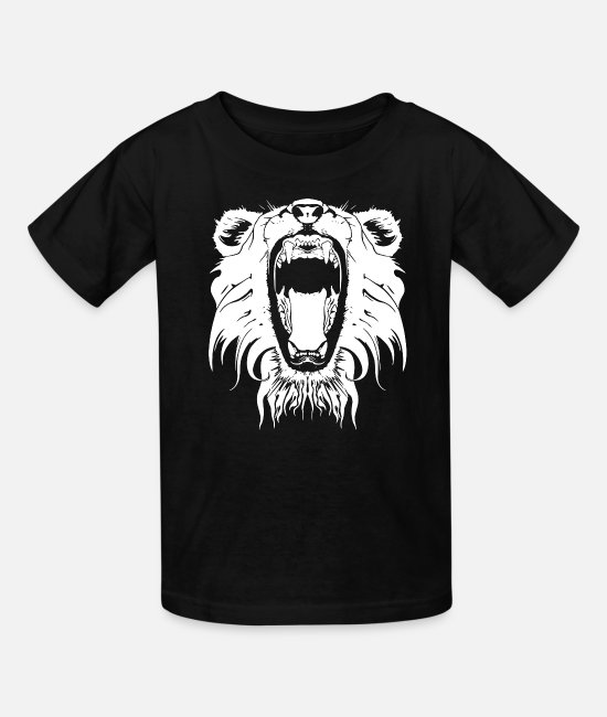 Roaring T-Shirts - Lion Head Roaring - Kids' T-Shirt black