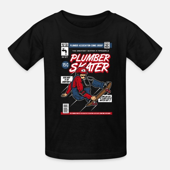 Geekcontest T-Shirts - Plumber Skater | Retro Gamer - Kids' T-Shirt black