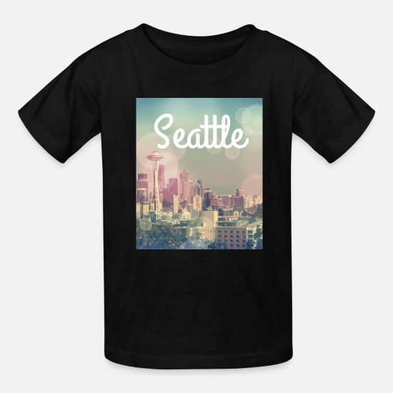 Seattle T-Shirts - Dreamy Seattle Skyline and Space Needle - Kids' T-Shirt black
