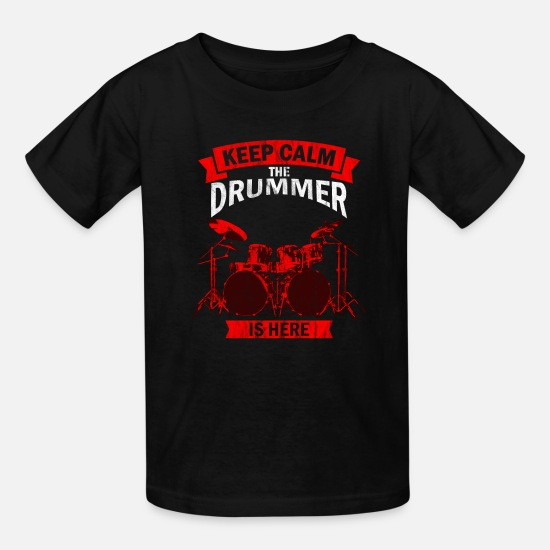 Drums T-Shirts - the drummer is here percussionist,music, instrumen - Kids' T-Shirt black