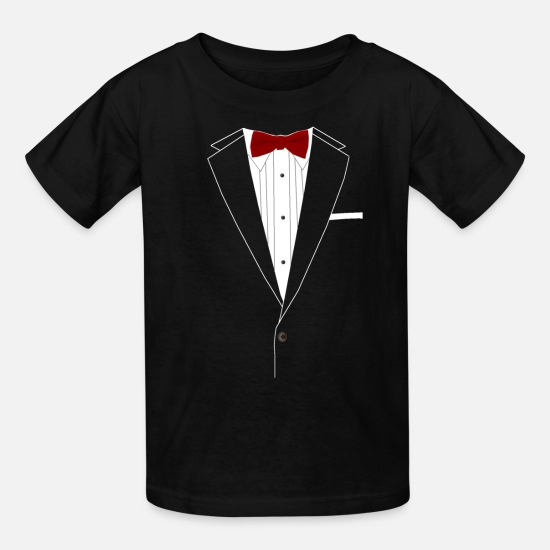 Suit T-Shirts - Tuxedo Red Bowtie - Kids' T-Shirt black