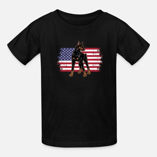 Cool T-Shirts - Dobermann Pinscher Dog Lover Novelty America USA - Kids' T-Shirt black