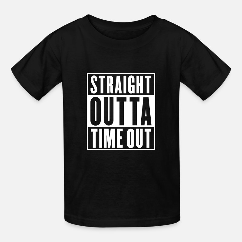 Straight T-Shirts - Straight Outta Time Out - Kids' T-Shirt black