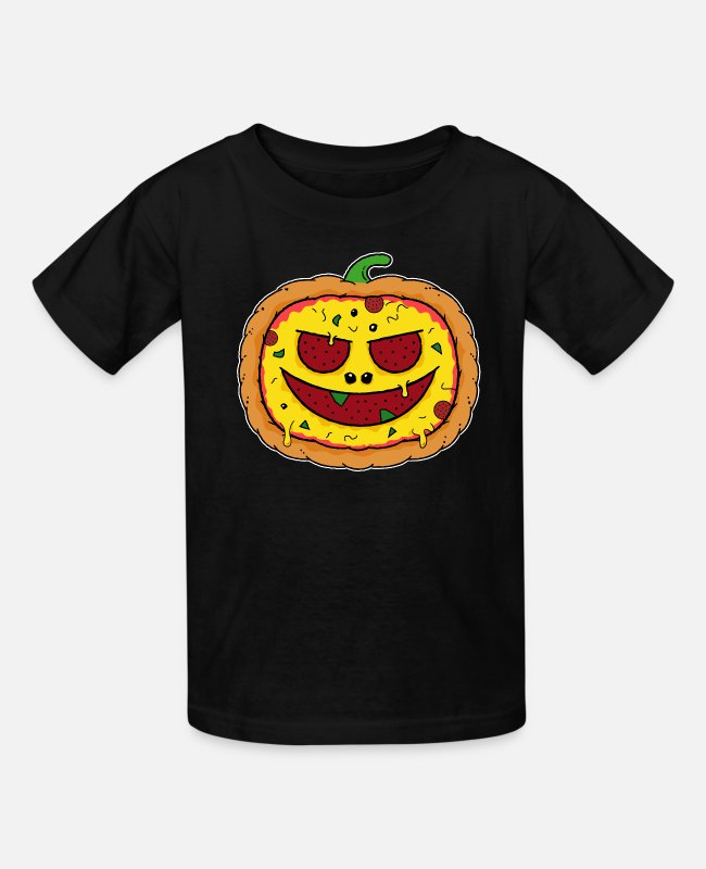 Pizza Face T-Shirts - Pizza Halloween Pumpkin - Kids' T-Shirt black