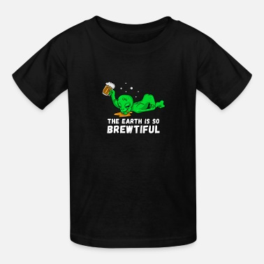 Alien Beer Drinking Party Funny Beer Lover Shirt - Kids' T-Shirt