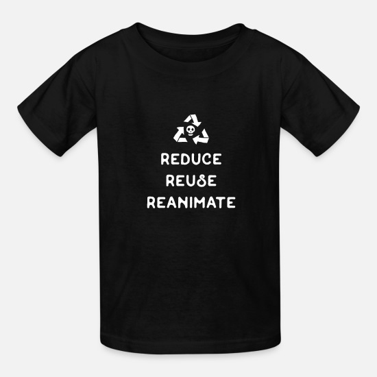 Dice T-Shirts - Reduce Reuse Reanimate Necromancer Tabletop RPG - Kids' T-Shirt black