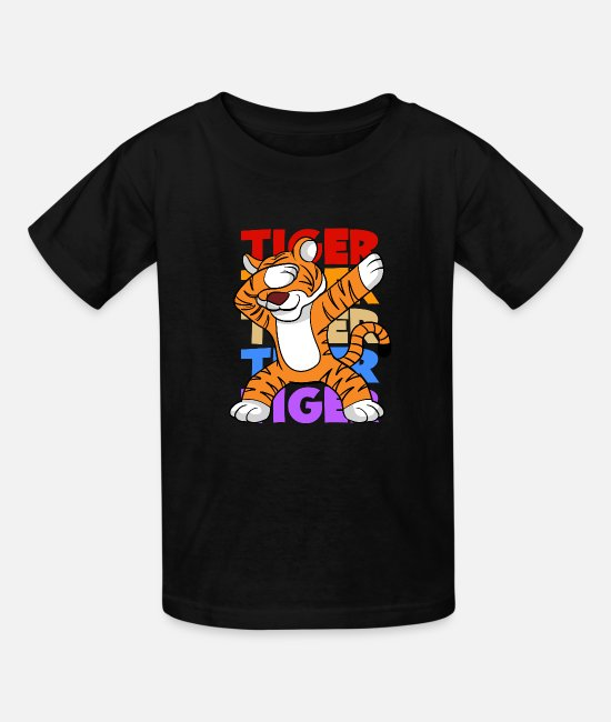 Tiger T-Shirts - Retro Vintage Style Dabbing Dab Tiger - Kids' T-Shirt black