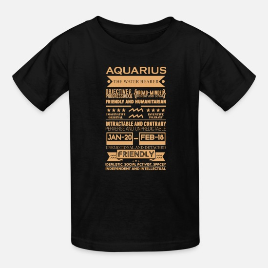 Aquarius T-Shirts - Aquarius The Water Bearer Astrology - Kids' T-Shirt black