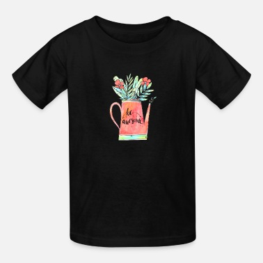 Garden Watercolor Garden Watering With Botanical Leaves - Kids' T-Shirt