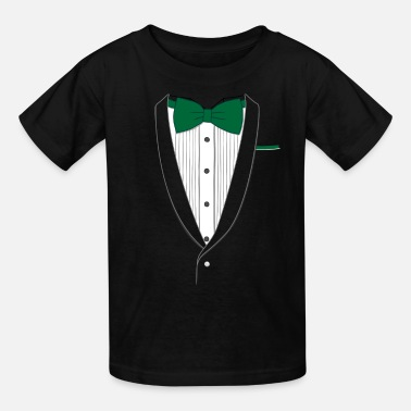 Fake Fake Tuxedo Green Tie - Kids' T-Shirt