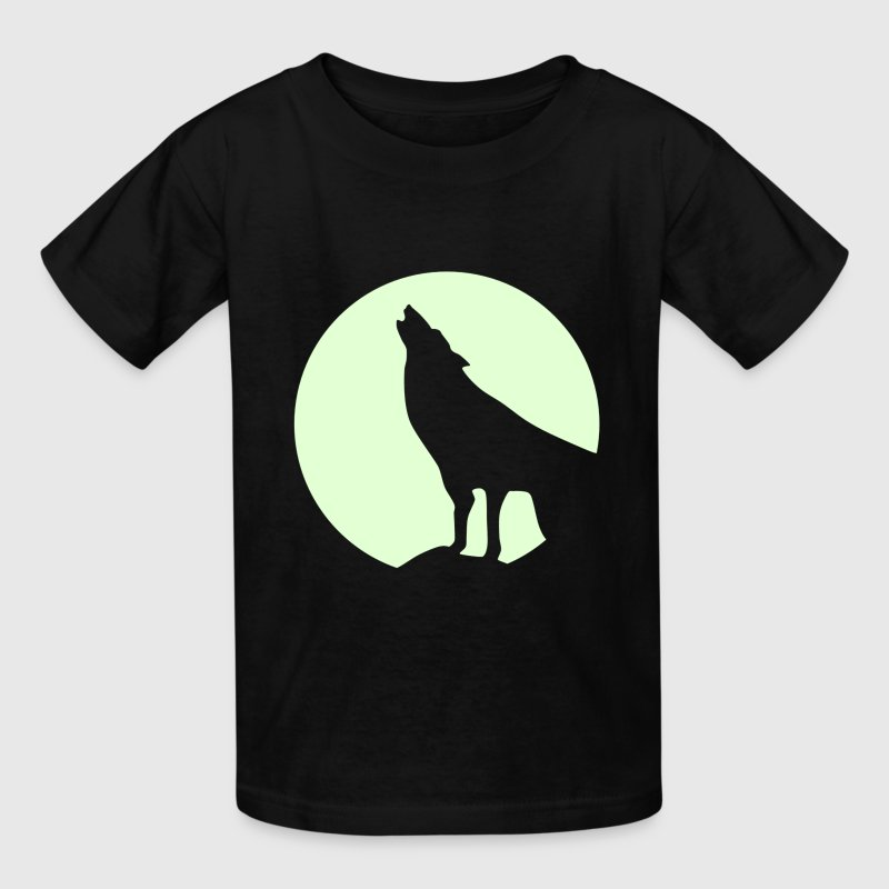 Wolf and Moonlight Silhouette - Kids' T-Shirt