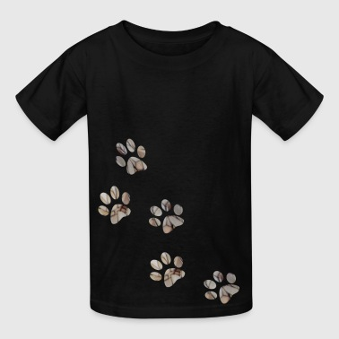 artTS collage art PAW PRINTS dog pet brownz - Kids' T-Shirt