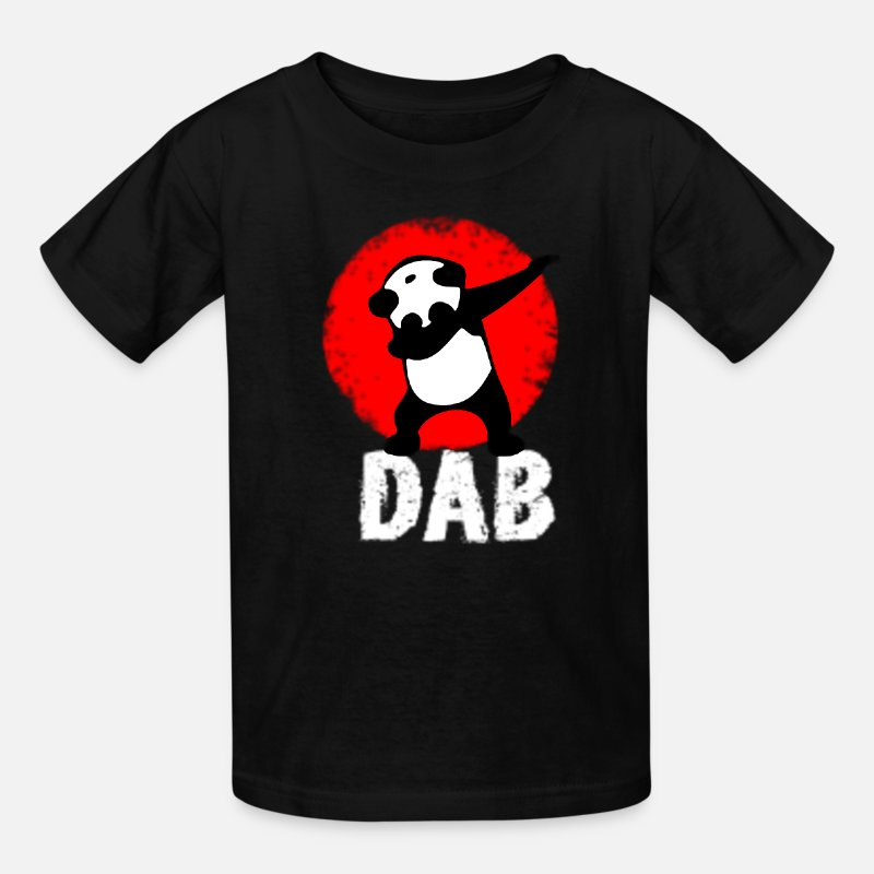 Panda T-Shirts - dab-panda-dabbing-football-tou1.png - Kids' T-Shirt black