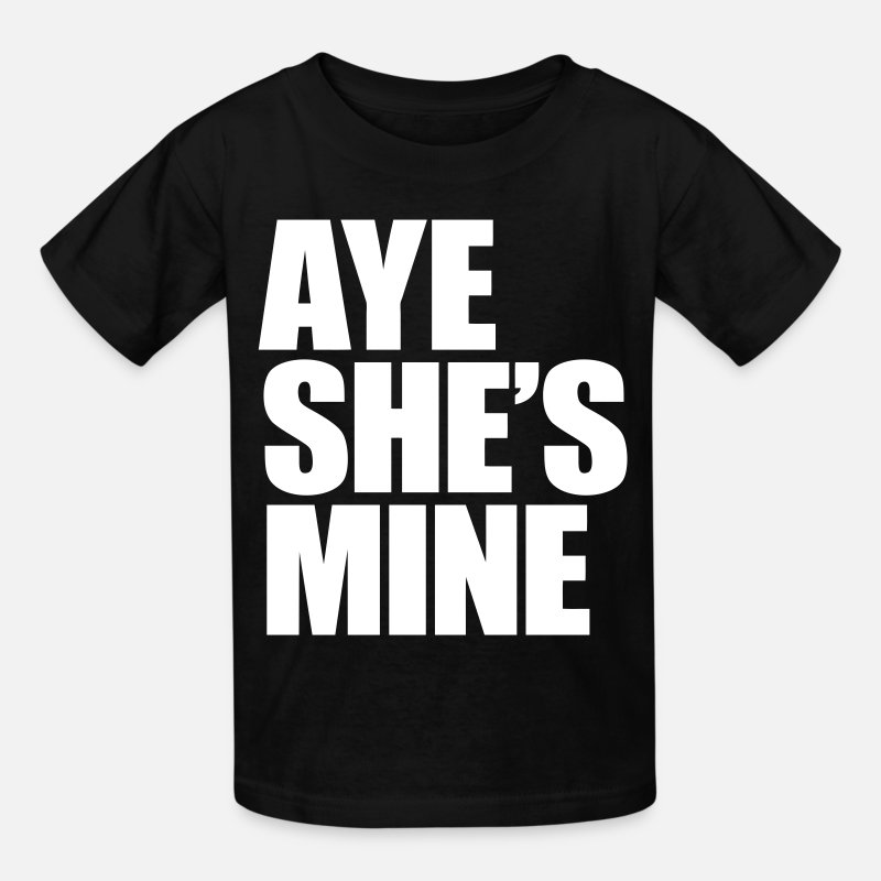 Couples T-Shirts - Aye She's Mine - Kids' T-Shirt black