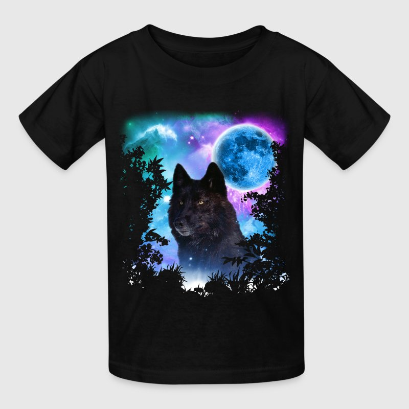 Black Wolf MidNight Forest - Kids' T-Shirt