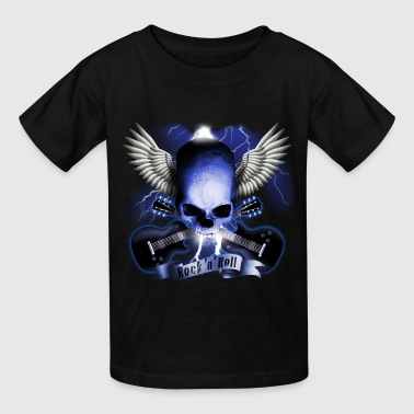 skull_and_wings_and_guitars_b - Kids' T-Shirt