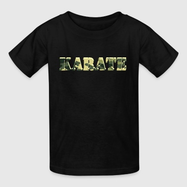 Karate word cut out of military camouflage camo design - Kids' T-Shirt