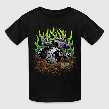 Mud Truck Green Flame - Kids' T-Shirt