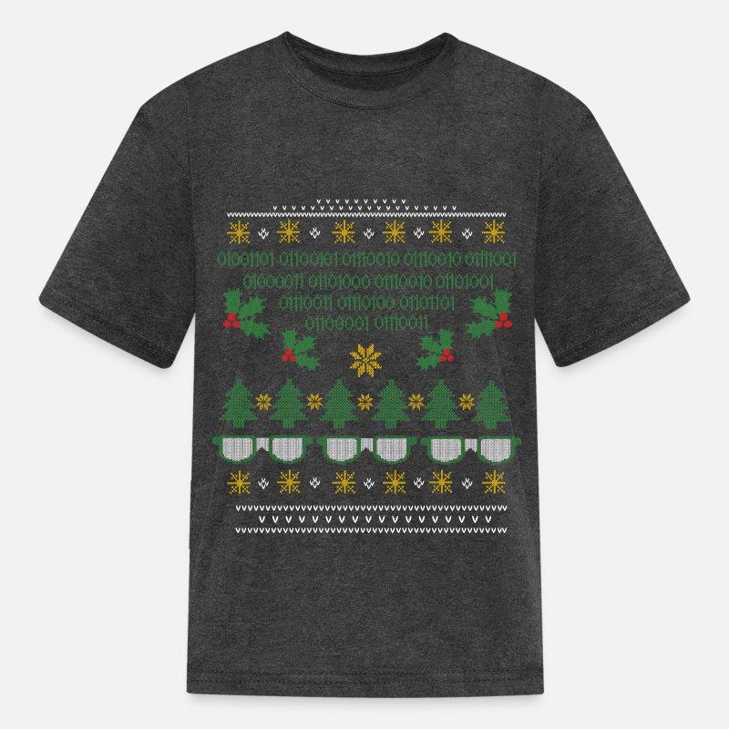Ugly Christmas Sweater Kids.Geek Ugly Christmas Sweater Kids T Shirt Heather Black