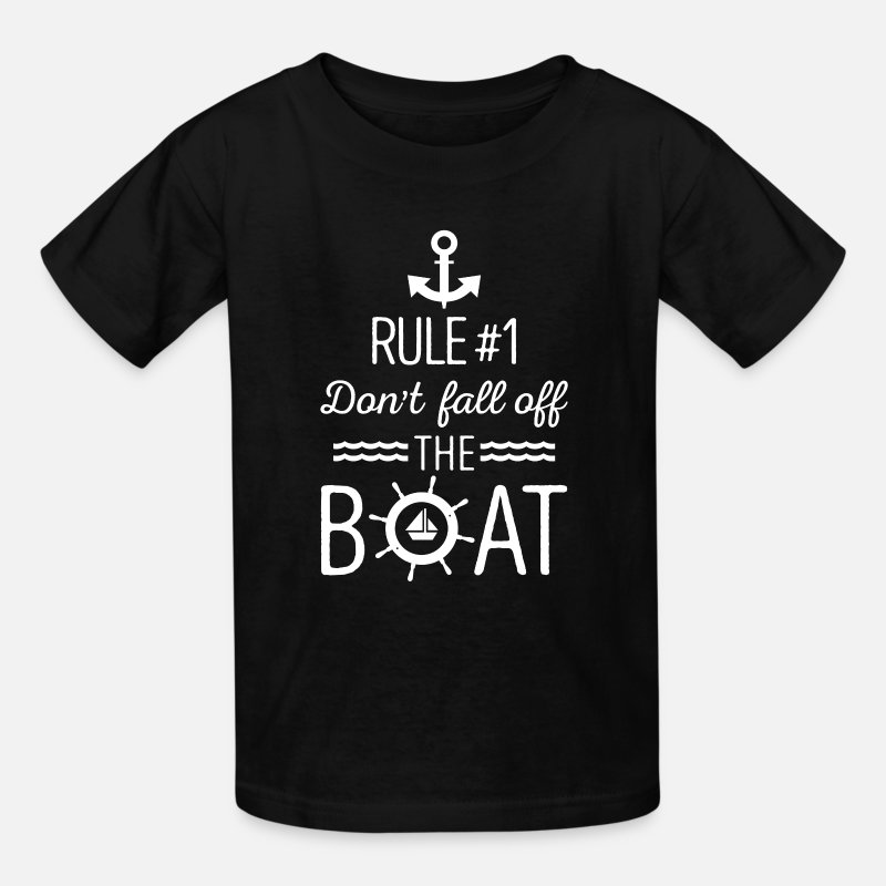 Cruise T-Shirts - Rule #1 Don't fall off the boat - sailing gift - Kids' T-Shirt black