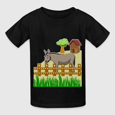 Tykes donkey farm barn gate pet animal gift idea - Kids' T-Shirt
