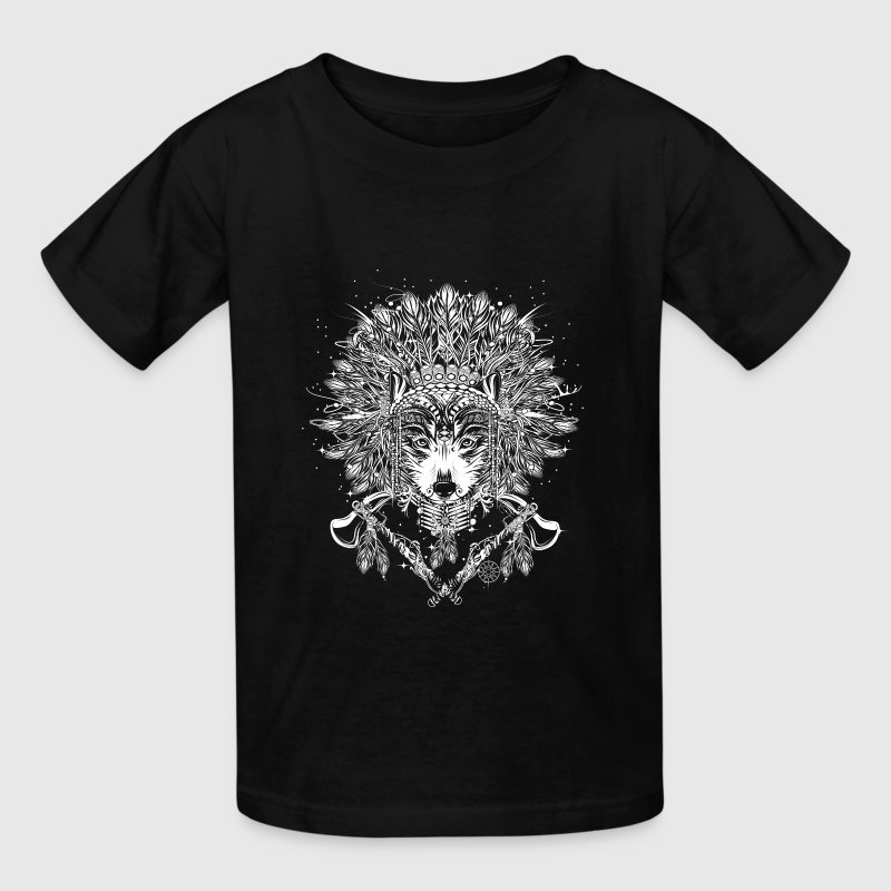 Wolf chief with headdress - Kids' T-Shirt
