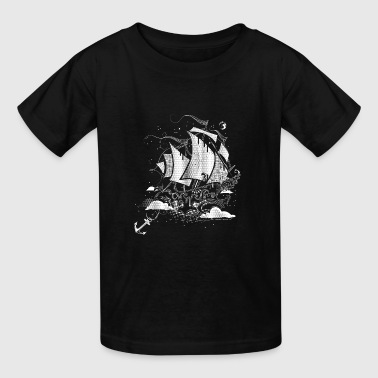 Above The Clouds A sailing ship above the clouds - Kids' T-Shirt