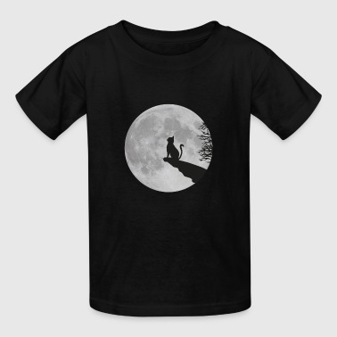 full moon cat werewolf kitten kitty - Kids' T-Shirt