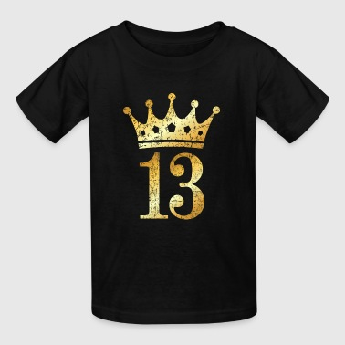 13th Birthday Crown Number 13 (Ancient Gold) - Kids' T-Shirt