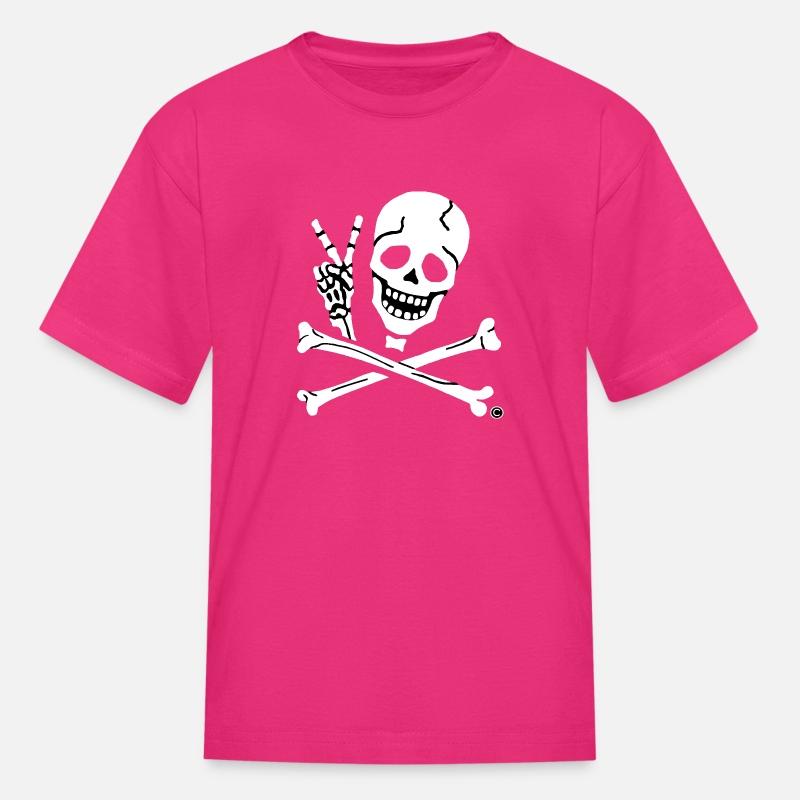 Kids Peace Sign Pirate Tee Kids' T-Shirt - fuchsia