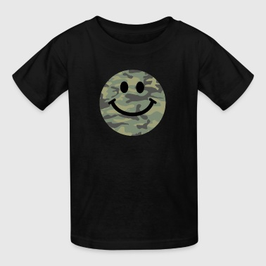 Army green camo Smiley face - Kids' T-Shirt