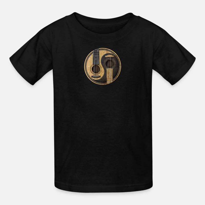 Guitar T-Shirts - Acoustic Guitars Yin Yang - Kids' T-Shirt black