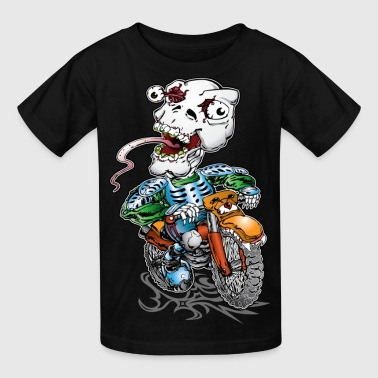 Skull-Tongued Dirtbiker wht - Kids' T-Shirt