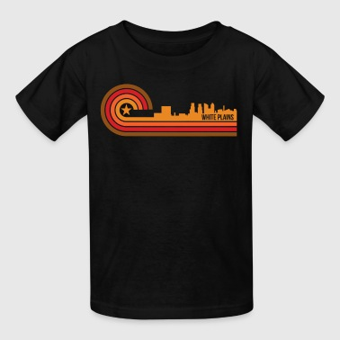 Retro Style White Plains New York Skyline - Kids' T-Shirt